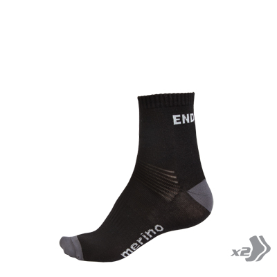 BaaBaa Merino Sock (Twin Pack) Black/None