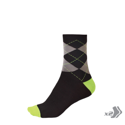 Argyll Sock (Twin Pack) Hi-Viz Green