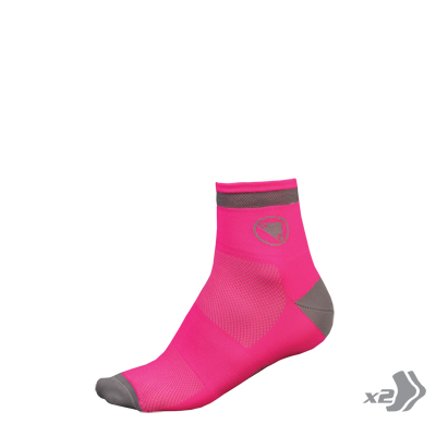 Wms Luminite Sock (Twin Pack) Hi-Viz Pink