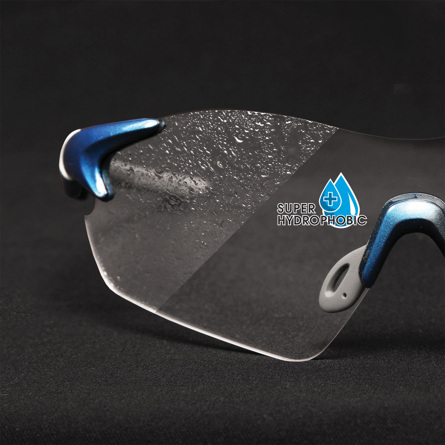 Clear lens with anti-fog finish and super-hydrophobic coating for foul weather riding