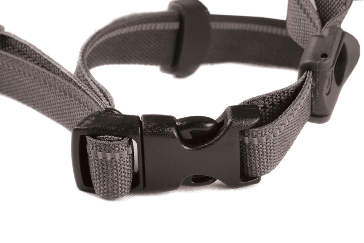 Compact chin strap with twin strap dividers