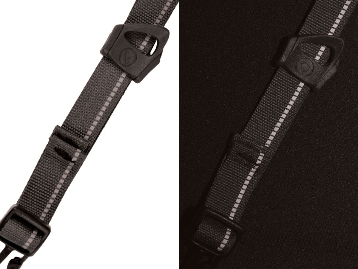 Helmet strap with reflective detailing