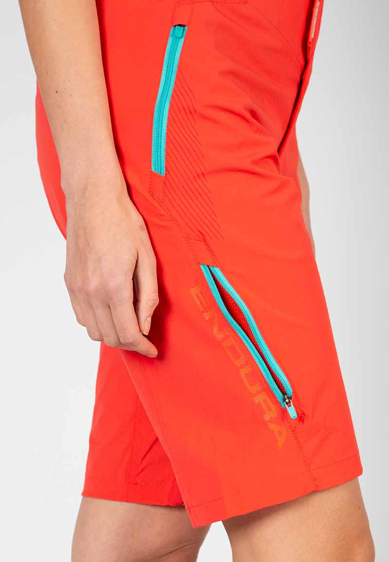 Zipped thigh vents with mesh inserts