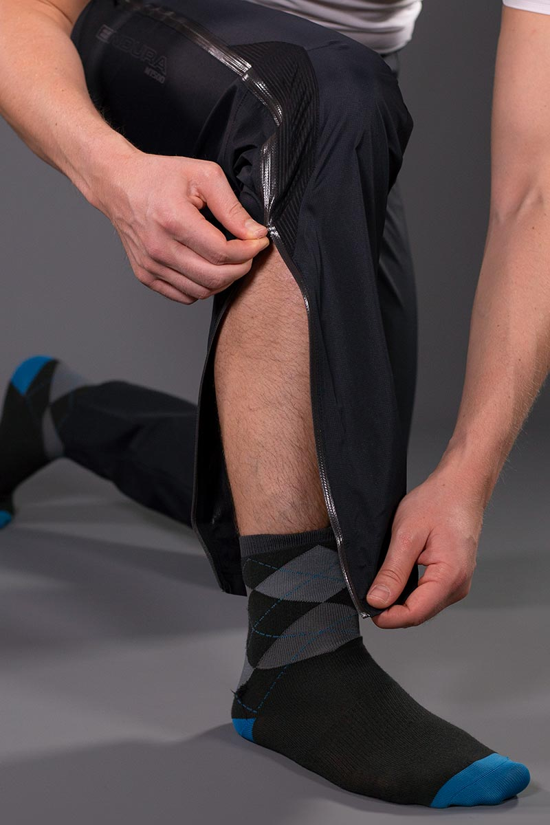 Long, thigh height 2 way water-repellent side zips for easy access and ventilation