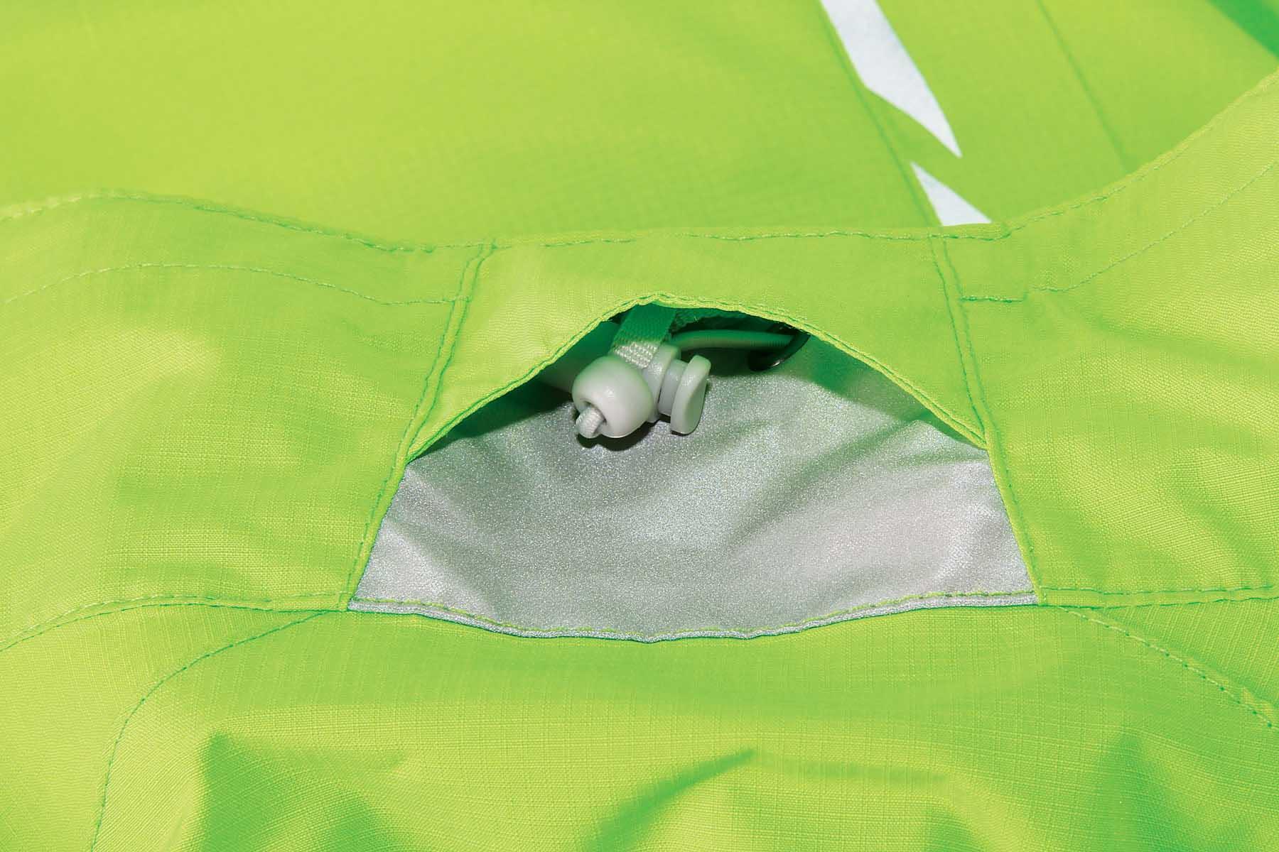 Adjustable neck and hem cords concealed in front pockets