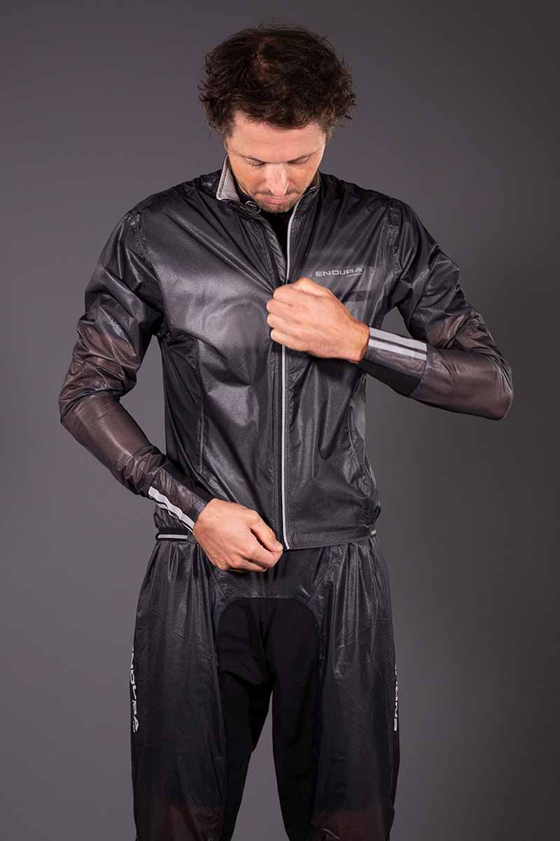 Full length front zip with internal storm flap