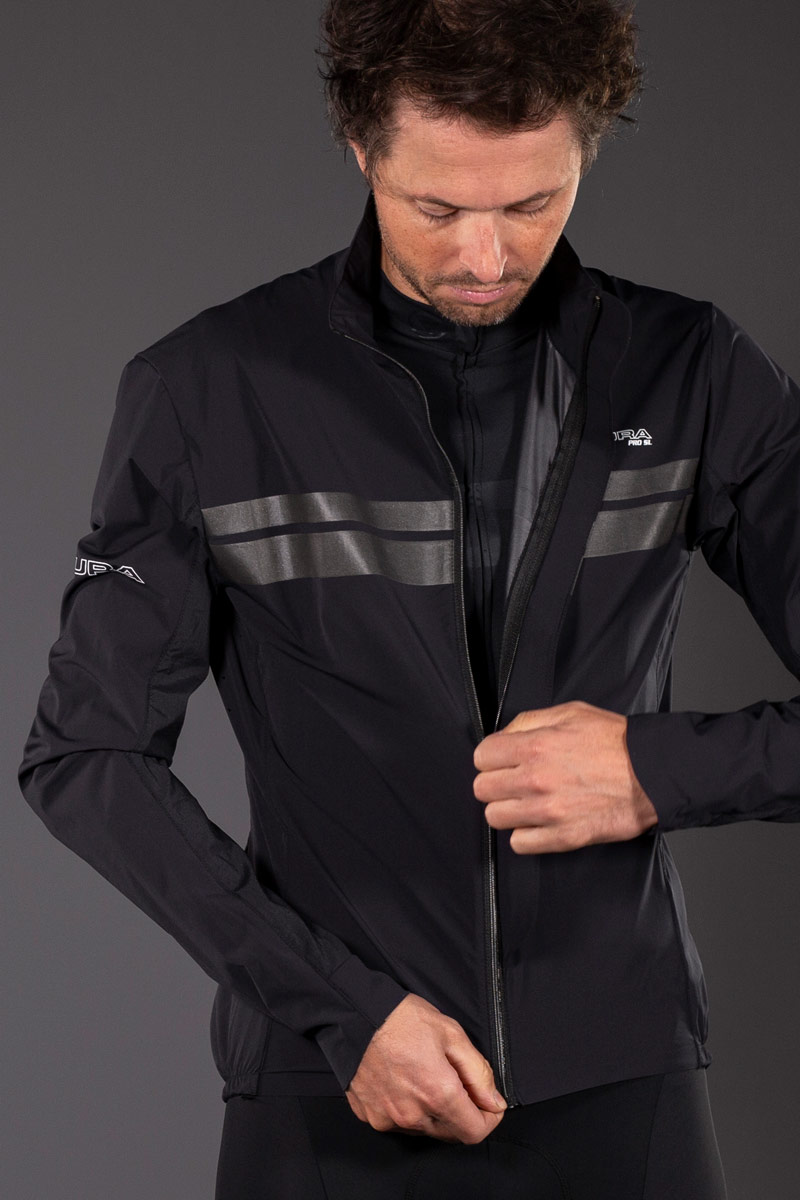 Full front zip with ¾ length bonded storm flap